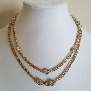 """Gold nacklace with round crystal stone, 36"""" long"""